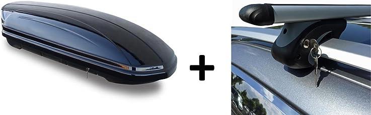 Dachbox schwarz glänzend VDP-MAA320G großer Auto Dachkoffer 320 Liter abschließbar + Alu-Relingträger Dachgepäckträger im Set für Mercedes M-Klasse W166 ab 12