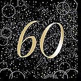 Unique Papierservietten mit Foliendruck für Den 60. Geburtstag,Gold,16er Pack