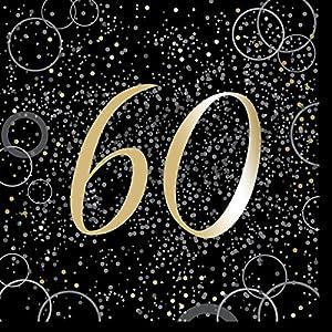 Unique Party- Paquete de 16 servilletas de papel de 60 cumpleaños, Color dorado metálico brillante (57493)