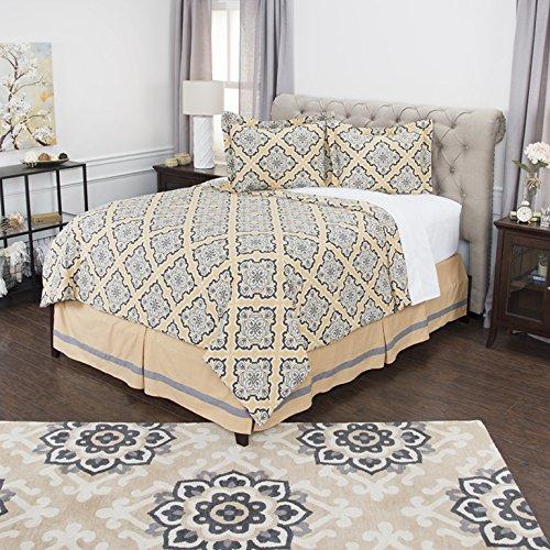 Rizzy Home 3Stück Baumwolle Tröster Geometrische Bettwäsche-Set, gold/grau, King