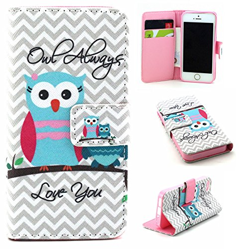 iPhone 5C Hülle Leder,iPhone 5C Case,iPhone 5C Cover,iPhone 5C PU Leder Flip Wallet Hülle,EMAXELERS iPhone 5C Leder Handy Tasche Wallet Case Flip Cover Etui,Niedlich Deer Muster Back Hülle Case Cover Hüllen für iPhone 5C,Flip Wallet Schutzhülle Etui Ledertasche Lederhülle mit Standfunktion Kunstleder für Apple iPhone 5C,Two Owl (Wallet 5c Strass Case)