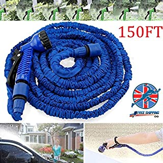 Autofather 150FT Expandable Water Pipe Household Telescopic Hose with 7 Spraying Settings Portable Kit for Washing Car Garden Watering Easy to Carry Storage, 2 Year Warranty (Blue)