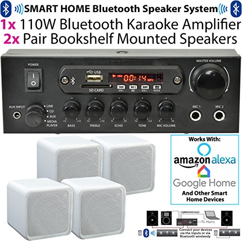 110 W kabellos/Bluetooth Mini-Verstärker & 4 x 80 W weiß Bücherregal Lautsprecher - Home, Café, Bar, Restaurant Kompaktes Surround Sound HiFi-Set - kompatibel mit Amazon Echo Dot - Cablefinder -