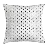 FAFANI Black and White Throw Pillow Cushion Cover, Thunderbolts Zig Zag Pattern Electric Charge Simple Stylized Illustration, Decorative Square Accent Pillow Case, 18 X 18 Inches, Black White