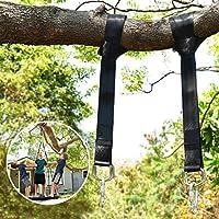 Wilbest Columpios, Hamaca correas árbol, Correas de sujeción Cinturón, Accesorios Juego de 2 correas para colgar el árbol 150CM Con D-Ring, Dos ganchos Carabiners - Carga máxima 500KG - el Oscilación Para Niños Adultos