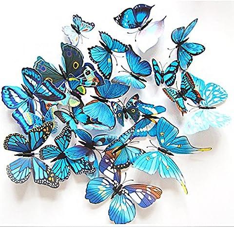 3D Schmetterlinge Blumen 12er Set Dekoration Wandtattoo (Alive (blau))