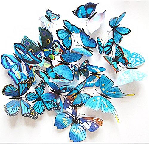 Kostüm Aus Meinem Schrank - Oblique Unique 3D Schmetterlinge Blumen 12er Set Dekoration Wandtattoo (Alive (blau))