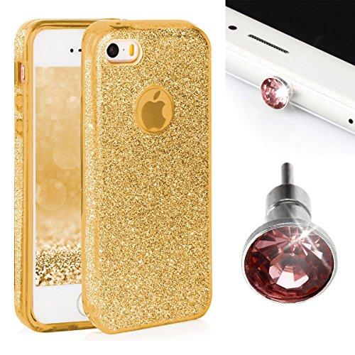 Glitzer Schutzhülle für iPhone 5 / 5S / SE EGO ® Handyschmuck diamant Kopfhörerbuchse Stecker Deko-Stöpsel Back Case Bumper Glänzend Transparente Silikon TPU Glamour Handy Tasche Strass Hülle, Silber  Gold