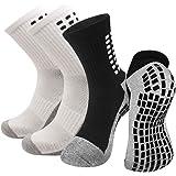 2 Pairs Anti Slip Athletic Socks For Men Women, Non Slip Rubber Grip Cushion Socks For Running Hiking Golf Soccer Basketball