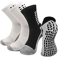 2 Pairs Non Slip Athletic Socks For Men Women, Anti-slip Sport Soccer Socks For Running Hiking Golf Football Basketball…