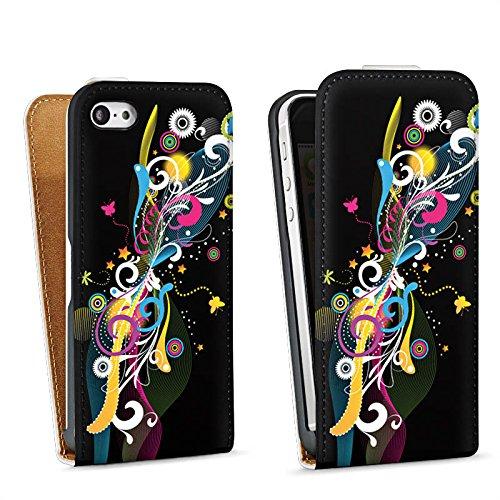 Apple iPhone 5 Housse Étui Silicone Coque Protection Cercle Étoiles couleurs Sac Downflip blanc