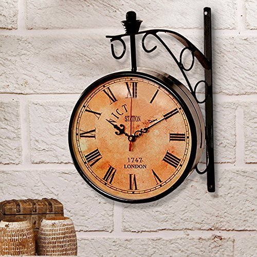 Wall Clock / Black station clock / antique clock like Brass wall clock / Victoria Royal double side clock / double sided wall clock
