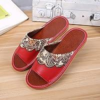 fankou Casa de Verano Zapatillas Interiores domésticos con Suelos de Madera y Elegante Estancia Anti-Slip Costillas Cool Zapatillas, 25 [35-36], Rojo