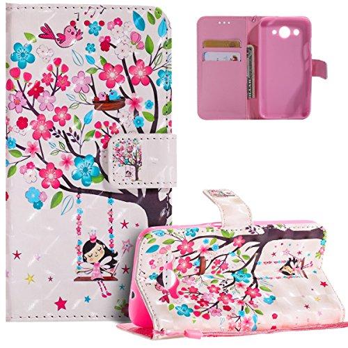 HMTECH Huawei Y3 2017 Hülle Luxus 3D Süßes Mädchen Bunte Blumen Flip Standfunktion Karten Slot Magnetverschluß Brieftasche Taschen Schalen Handy für Huawei Y3 2017,Swing Girl Flower KT