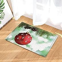CDHBH Christmas Decor Red Christmas Ball Tied to Green Pine Needles Branches Bath Rugs Non-Slip Doormat Floor Entryways Indoor Front Door Mat Kids Mat 15.7x23.6in Bathroom Accessories