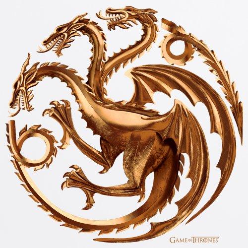 Official Game of Thrones - House Targaryen Metallic T-shirt da baseball, Uomo Bianco-nero