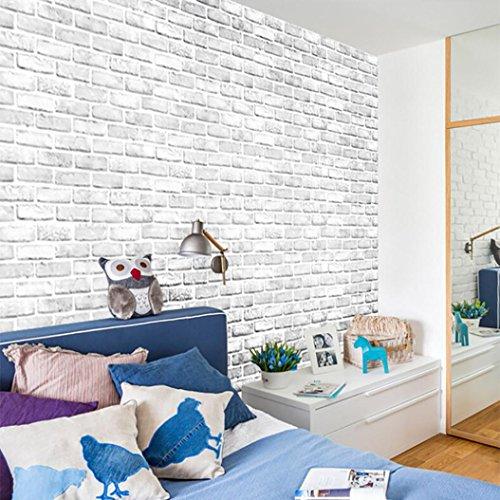 TWIFER 3D Brick Stone Rustic Effect Self-adhesive Ziegelstein Tapete, Selbstklebend Brick Muster Tapete Wand Aufkleber,Wandaufkleber für Schlafzimmer Wohnzimmer TV Schlafzimmer Home Decor (45 X 100cm, Weiß) - Stein-boden-muster