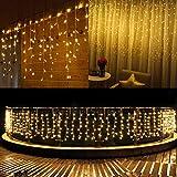600 LED Lichterkettenvorhang 15M 8 Modi IP44 Wasserfest Lichterkette für Weihnachten Innen/Außen Garten Balkon Party Hochzeit Schlafzimmer