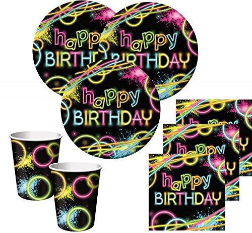 32 Teile Knicklicht Neon Raver Basis Party Deko Set für 8 Personen