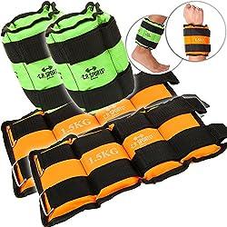 C.P. Sports Juego de 4manguitos con peso, 2x 500g y 2x 1000g unidad de lastres para tobillo y muñeca. Pesas para brazos y piernas, 2x1,5kg+2x2,5kg