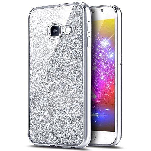 JAWSEU Cover Morbida TPU con Glitter Brillantini Custodia Compatibile con Samsung Galaxy A5 2016 Silicone Gel TPU Cover Placcatura Bling Diamante Protettiva Custodia Bumper Case Cover