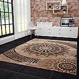 VIMODA Teppich Klassisch Wohnzimmer Schlafzimmer Gemustert Kreis Sehr Dicht Gewebt Meliert Ornamente Muster in Braun Beige Schwarz - Top Qualität, Maße:60 x 110 cm
