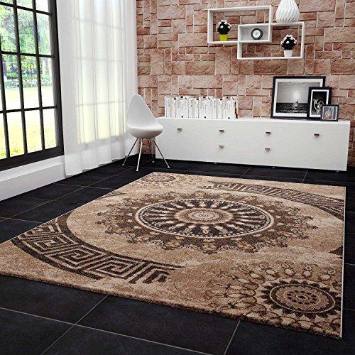 VIMODA Teppich Klassisch Wohnzimmer Schlafzimmer Gemustert Kreis sehr dicht gewebt Meliert Ornamente...