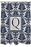 Manuelle holzverarbeiter & Weavers Vorhang für die Dusche, Monogramm Buchstabe F, blau Damast