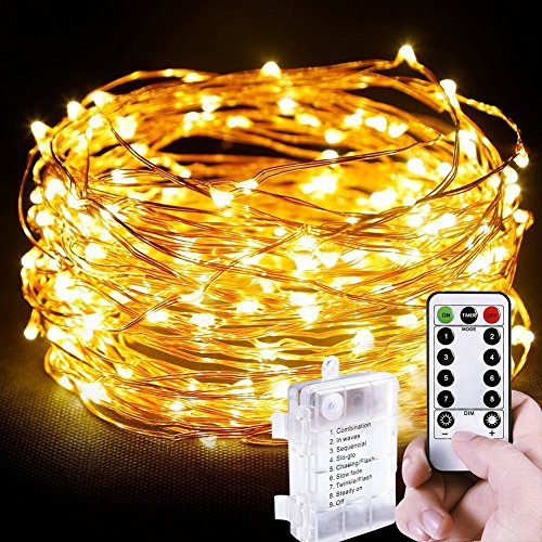 Wuudi 100er LED Outdoor Lichterkette Batterienbetrieben Warmweiß
