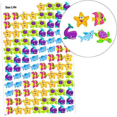 Preisvergleich Produktbild German Trendseller® - 100 x Sticker Seetiere  - kleine Seetiere im Korallenriff -  Kindergeburtstag  100 Sticker - im Set für Kinder