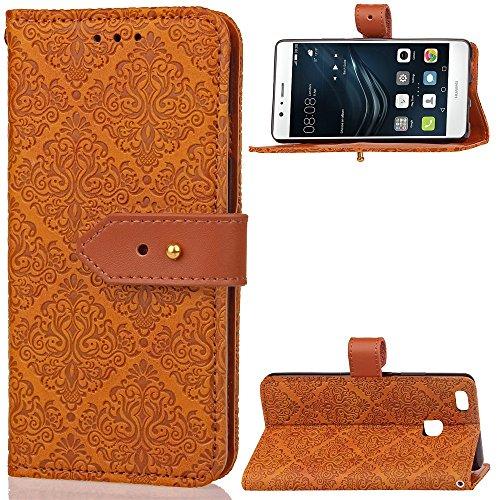 GHC Cases & Covers, Für Huawei P9 Lite Fall, European Kamin Royal geprägt Blumenmuster Horizontale Flip Stand PU Ledertasche mit seitlichen Schnalle & Cash Card Slots (Color : Khaki) (Geprägte Kamin)