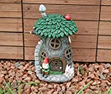 Garden Mile® Solar Light Up Fairy House Outdoor Garden Solar Lights Garden Gnome Fairy Garden Tree House With LED Lights Enchanting Home Or Garden Ornaments. (Solar Garden Gnome fairy House)
