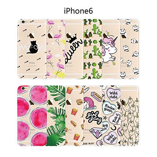 SMART LEGEND iPhone 6S/iPhone 6 Weiche Silikon Hülle TPU Bumper Transparent Handyhülle mit Queen Muster Durchsichtig Schutzhülle Backcover Crystal Kirstall Clear Etui Ultra Slim Design Glatt Weich Han Flamingo