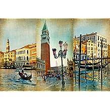 Legendarte P-049 Quadro  Collage Veneziano, Stampa digitale su tela, Multicolore, cm. 60 x 90