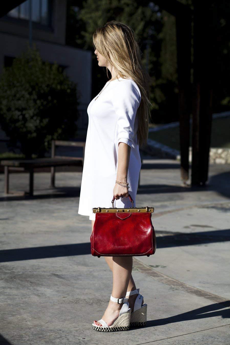 Ladies leather handbag doctor bag handheld shoulder bag medical purse honey made in Italy - handmade-bags