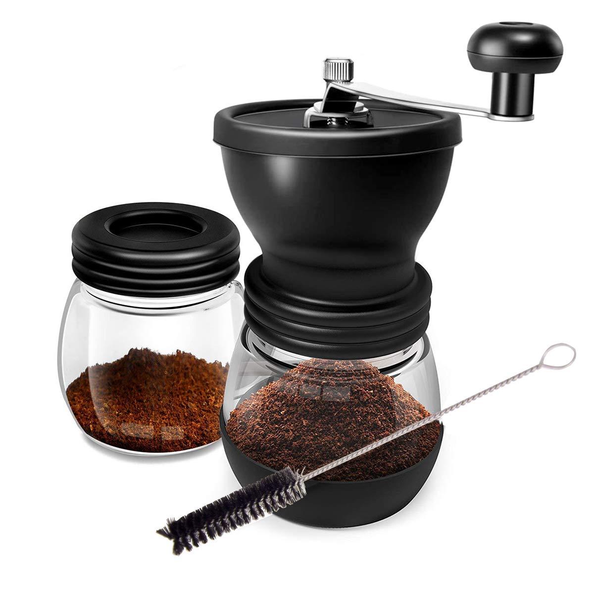 WOT I Kaffeemühle Manuell aus Glas mit Keramikmahlwerk Verstellbaren Hand-Kaffeemühle Geschenkverpackung Verfügbar – mit…
