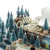 LouisaYork Miniatur-Weihnachtsbaum, Mini-Tischbaum, 34 Stück, Mini-Sisal, Schnee, Frost, Baum, Mikrolandschaft für Weihnachten, Basteln, Tischdekoration - 6