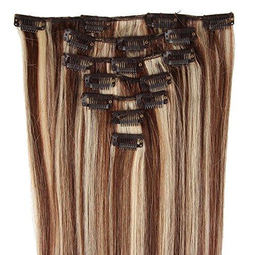 Beauty7 Extension de cheveux humain à clips 100% Remy Hair 4/613# Couleur Chocolat/Blond très clair Longueur 38 cm Poids 70 grams