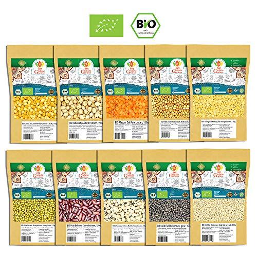 BIO Indische Hülsenfrüchte 10er SET - Dal, Linsen, Bohnen, Kichererbsen - Mungobohnen, Urdbohnen, Mung Dal, Rote Linsen, Toor Dal, Chana Dal - 1,5 Kg