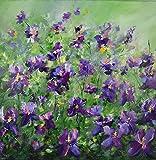 Bild Blumen Blumenwiese Malerei Kunst Original Acryl Gemälde 60x60 cm