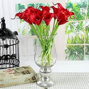 10pcs Impianto Casa Decorazione Artificiale in lattice Calla Lily Fiori (rosso)