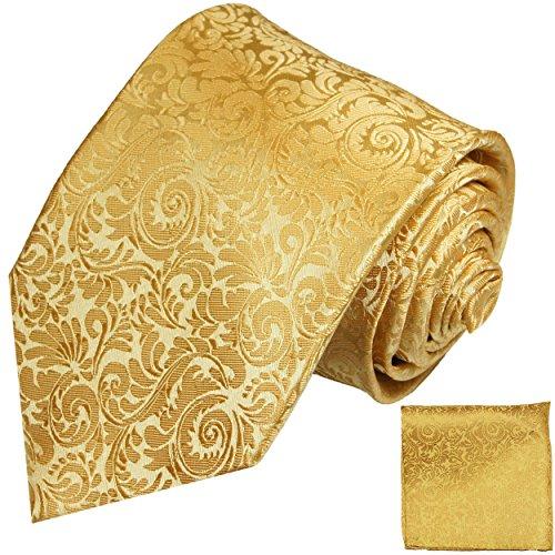 Paul Malone Krawatten Set gold 100% Seide Hochzeit fleckenabweisende Seidenkrawatte + Einstecktuch