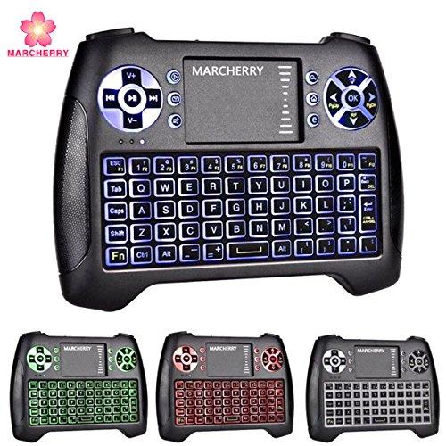 Mini drahtlose Tastatur, Marcherry 2,4 GHz 3 Farben Hintergrundbeleuchtetes Gaming Keyboard mit Touchpad Maus USB Rechargable Handheld Fernbedienung für Smart TV Xbox Android TV Box Projektor PC Desktop IPSTB (Handheld-maus)