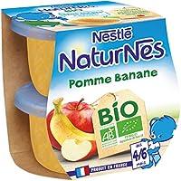 Nestlé Bébé Naturnes Bio Pomme Banane Compote de Fruits Dès 4/6 Mois 2 x 115 g - Pack de 12