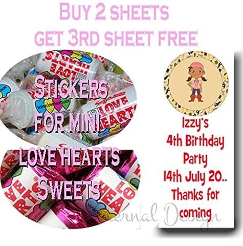Eternal Design brillant Stickers d'anniversaire pour Mini bonbons Love Heart kblvhs 123 27 per pack