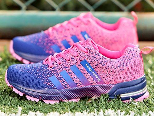 Uomo Donna Scarpe da Ginnastica Corsa Sportive Running Sneakers Fitness Interior Casual all'Aperto blue rosa