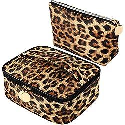2 Piezas Bolsos de Cosmético con Estampado Leopardo Bolsa de Maquillaje de Viaje Bolso de Tocador Bolsa Portátil con Cremallera para Mujeres Niñas