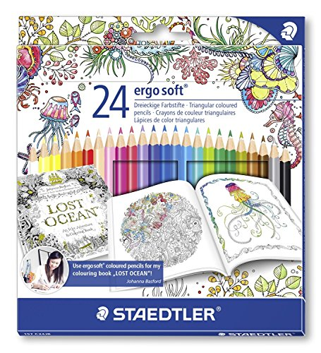 Staedtler Ergosoft 157 – Pack de 24 lápices de color (triangulares, 3 mm, 17.5 cm), color azul