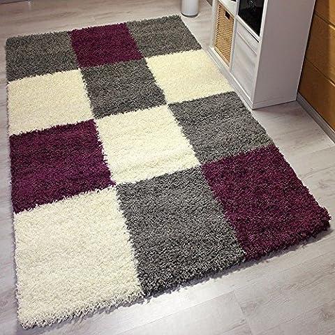 Moderner Hochflor Shaggy Teppich in Lila Grau Weiß Kariert - ÖKO TEX Zertifiziert, Strapazierfähig, VIMODA; Maße: