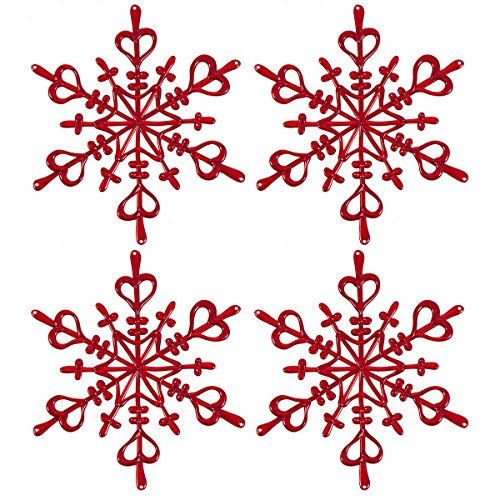 Koziol Flocken aus, Fenster/Wand Dekoration (Set von 4)-Glitzernden Bordeux (Schneeflocke Dekorationen Clearance)